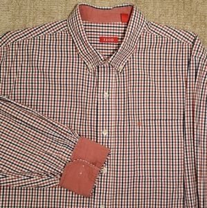 ❄3 for $18 Izod Red Blue Checked Button Up Shirt